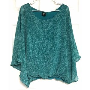 Bobeau Blouse Teal Polka Dots Dolman Sleeves Large
